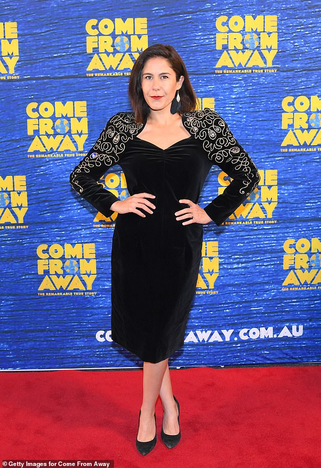 What a sweetheart: The Project's Jan Fran opted for a black velvet dress with a sweetheart neckline and gold embroidery on the sleeves