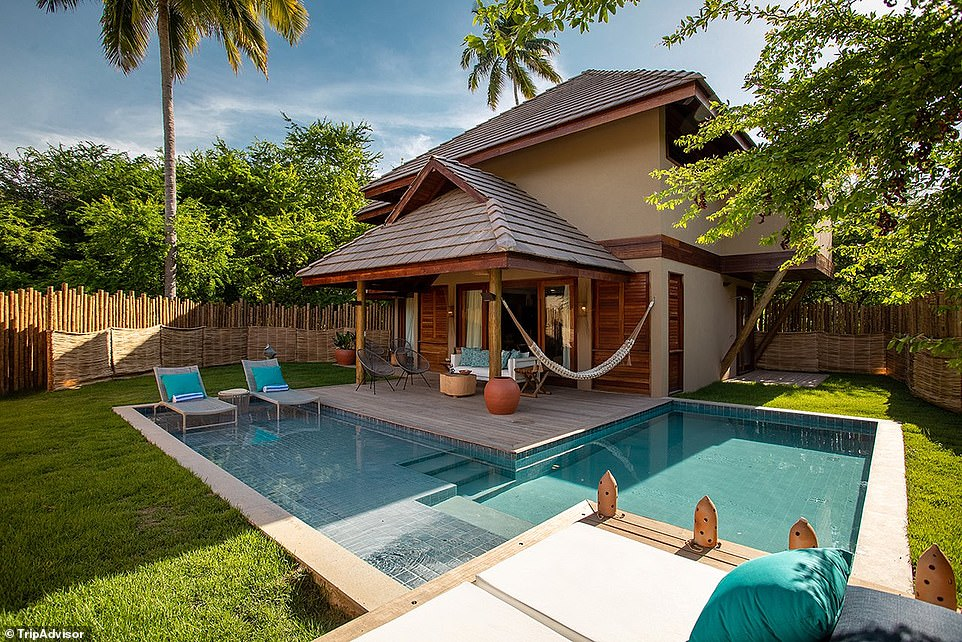 3. ANTTUNINA POUSADA SPA, MARAGOGO, BRAZIL: Tripadvisor says this property in north-eastern Brazil is 'located on the most beautiful beach' with calm, crystal-clear waters that 'delight visitors'. Guests stay in bungalows that include a heated swimming pool and a whirlpool