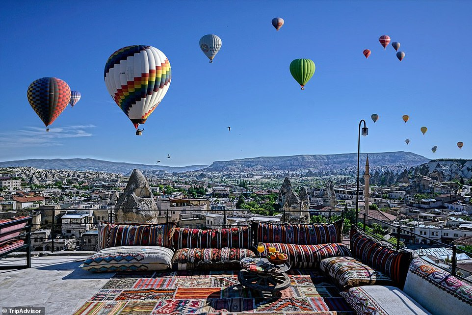 1. ARINNA CAPPADOCIA, GOREME, TURKEY: The No1 hottest new hotel is a stunning luxury 10-room cave lodge that, according to Tripadvisor, has travellers 'buzzing'. The site points out: 'Some of the rooms are real cave rooms and some of the rooms are local stone rooms with a view of Goreme town and its balloons'