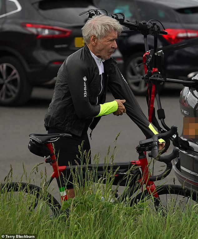 Getting ready: The actor was seen putting on his cycling gear ahead of the scenic ride