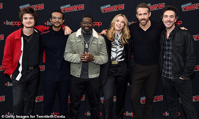Game-inspired: The film is inspired loosely by games such as Grand Theft Auto, and Uncharted; pictured Keery, Ambudkar, Howery, Comer, Reynolds, and Levy at New York Comic Con in support of the fim; pictured 2019