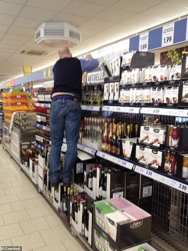Cracked has rounded up a selection of photos from around the world that left people wondering whether they should intervene - including a man, believed to be in the UK, who balanced on wine bottles to reach the top shelf in a supermarket