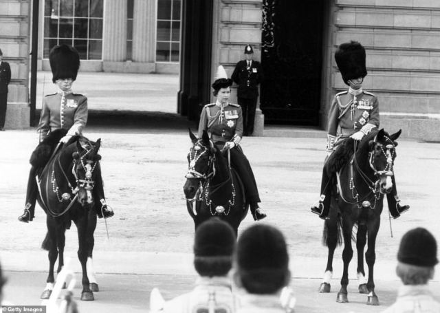 1975 — HISTORY CONTINUES:The Queen takes part in Trooping the Colour ceremony with 1st Battalion Grenadier Guards, Horse Guards Parade London, Saturday June 14, 1975.