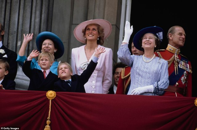 1989 — TWO BROTHERS:The Royal Family gather on the balcony of Buckingham Palace in London for the Trooping the Colour ceremony. Pictured are Princess Margaret, Diana, Princess of Wales, Prince Harry, Prince William, Queen Elizabeth II and the Duke of Edinburgh. Diana is wearing a pink dress by Victor Edelstein and a Philip Somerville hat.