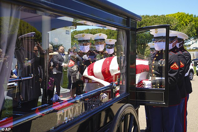 Middleswart was 19 when he was killed along with more than 400 other Marines and Navy sailors aboard the battleship Oklahoma in a surprise attack by the Japanese that led the U.S. into World War II. A Marine team places U.S. Marine Corps, Pfc. John Franklin Middleswart casket onto the horse-drawn funeral carriage