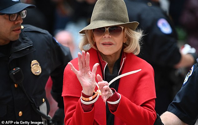 Fonda, in November 2019, being arrested at a climate change protest in 2019 in Washington DC