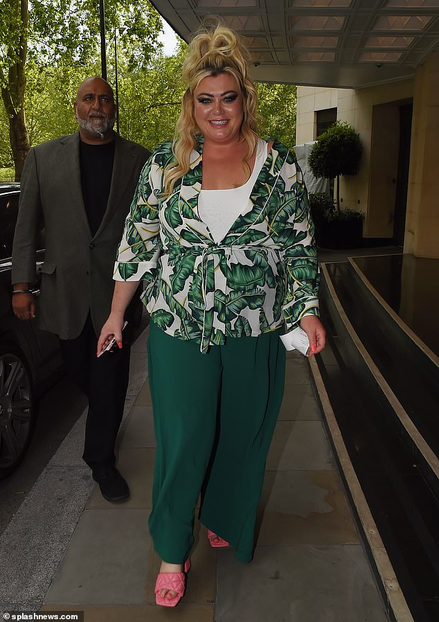 Wow! Gemma Collins amped up the glamour with a showstopping hair and make-up look on Thursday, as she displayed her three and a half stone weight loss in a green outfit for dinner in London