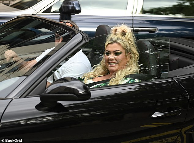 Outing: Gemma appeared thrilled to take a ride in the new convertible as her brother acted as her willing chauffeur