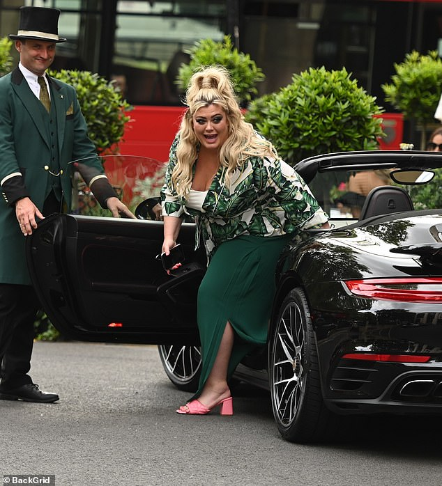 Entertained: Gemma appeared animated as she stepped out of the vehicle