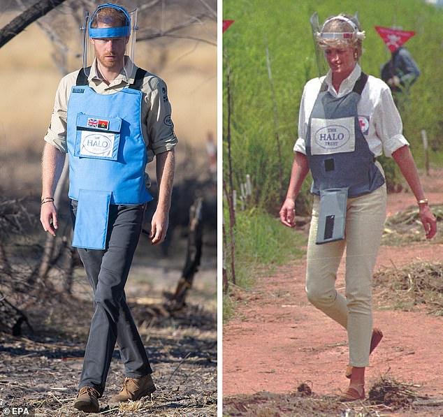 The Duke of Sussex (L) walking through a minefield to see the work of landmine clearance charity the Halo Trust, in Dirico, Angola, 27 September 2019, and his mother, Princess Diana (R), visiting the minefields in the high plateaux near Huambo, Angola, 15 January 1997