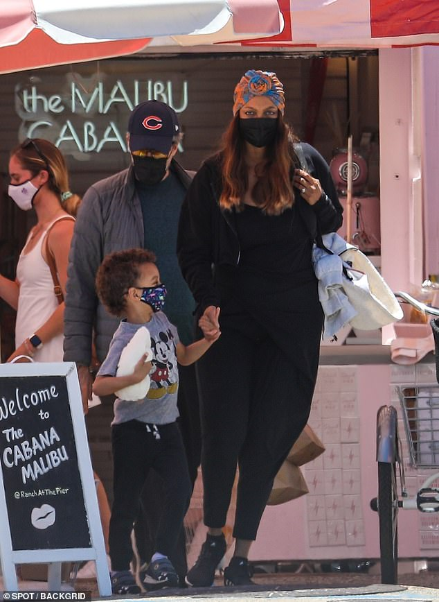 On Thursday: Tyra Banks was seen out with her son York Banks Alsa and boyfriend Louis Bélanger-Martin for breakfast at The Cabana in Malibu