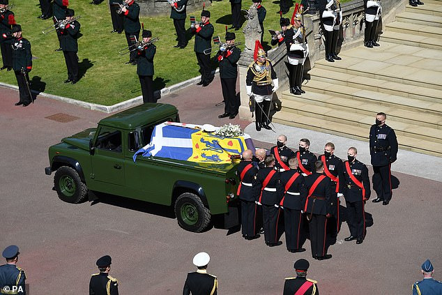 Military officers who carried Prince Philip¿s coffin and those who formed part of the Land Rover hearse crew were also recognised