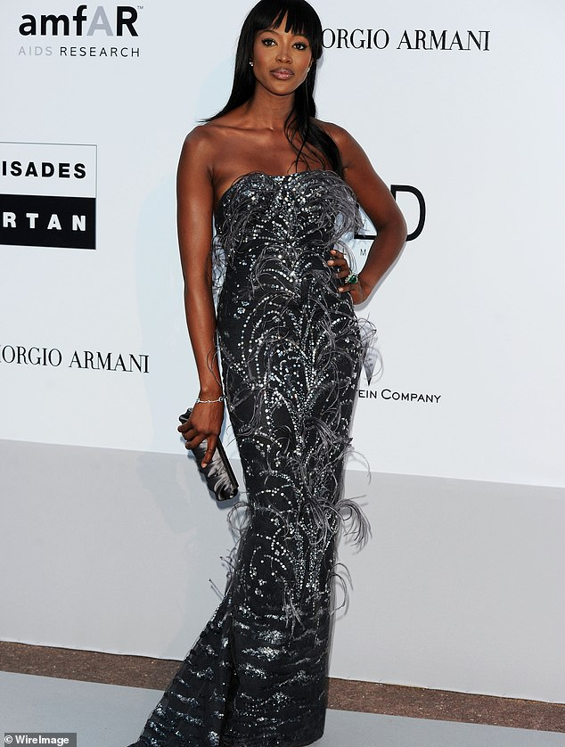 Supermodel Naomi Campbell stunned in feather-trimmed perfection for a charity gala in 2010. She first met L'Wren, aged 16, at a fashion show in Paris. 'I was in awe of this very tall girl, yet divinely feminine,' Naomi said. 'She had the biggest heart, and when you were embraced by her she would do all she could to protect and encourage you. Through all that, first and foremost, she was my friend.' The dress is up to £2,000.