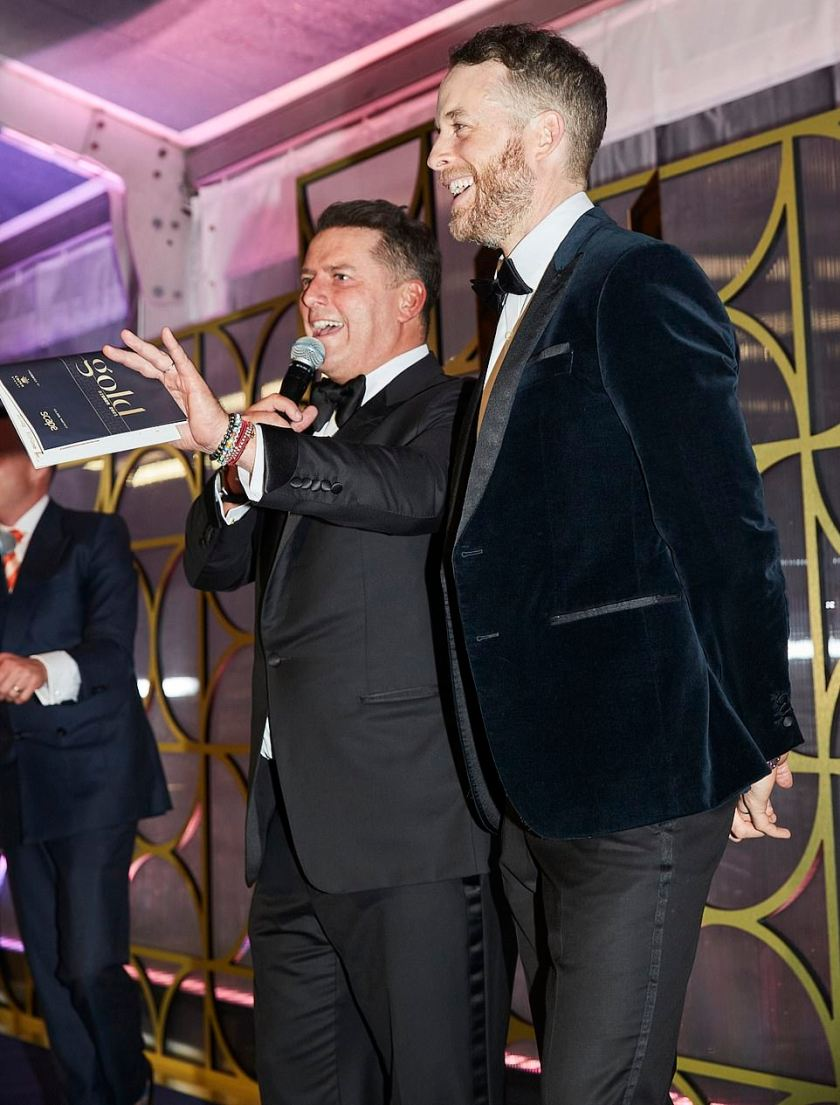 Man of the hour:The event was emceed by Today show anchor Karl Stefanovic (left, with Hamish Blake)