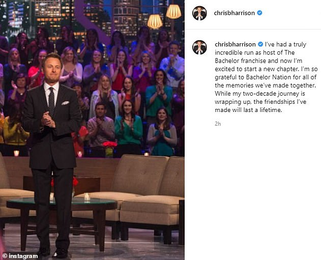Gone: Earlier in the week, it was confirmed that Harrison, who served as the host of The Bachelor and its spinoffs since 2002, has officially left the franchise after a racism scandal