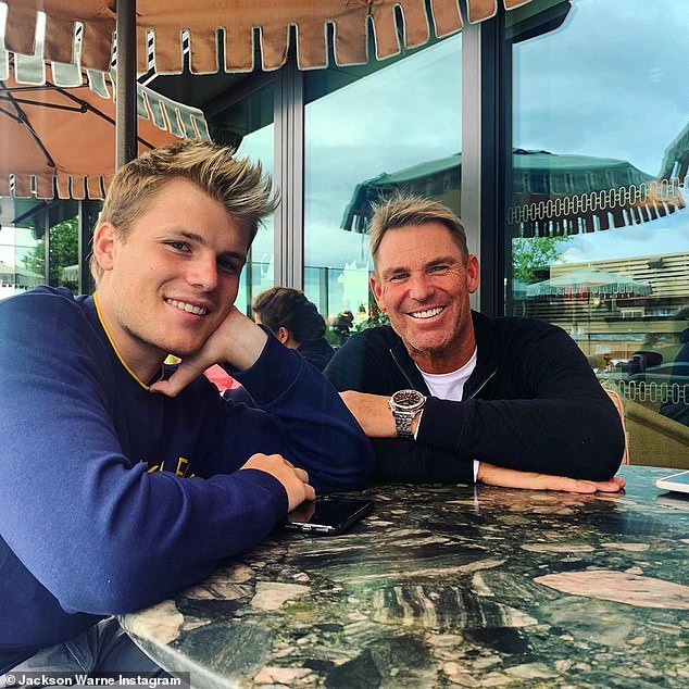 The simplest things in life: Jackson (pictured with his father, Shane Warne) explained that he didn't follow a special diet, but rather was stuck in his ways
