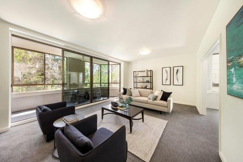 Cosy interiors:Built in 1980, the modest flat is one of six residences in the block and features three bedrooms, two bathrooms and two parking spaces