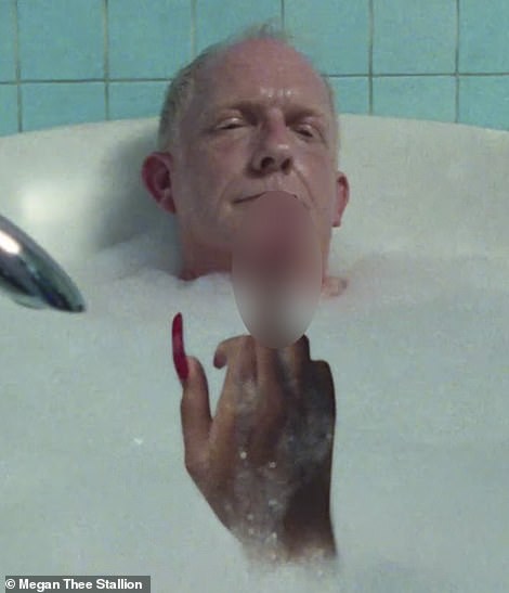 Not so fast! As an homage to a classic scene in the 1984 film Nightmare On Elm Street, Megan's well manicured hand emerges from the bath water as the Senator relaxes with his eyes closed