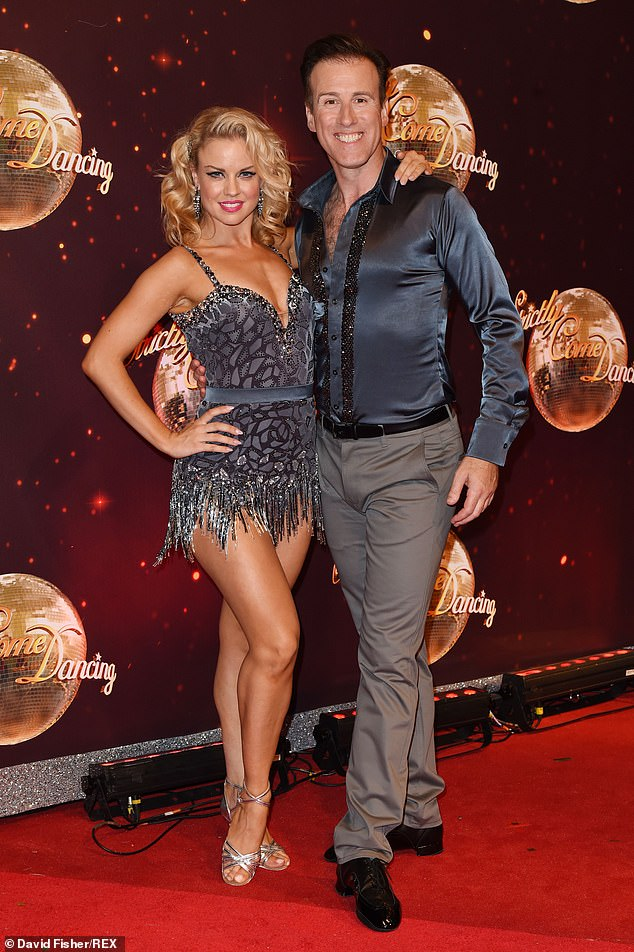 Stunning: Joanne is pictured with fellow pro Anton Du Beke at the launch of Strictly at Elstree Studios in August 2016