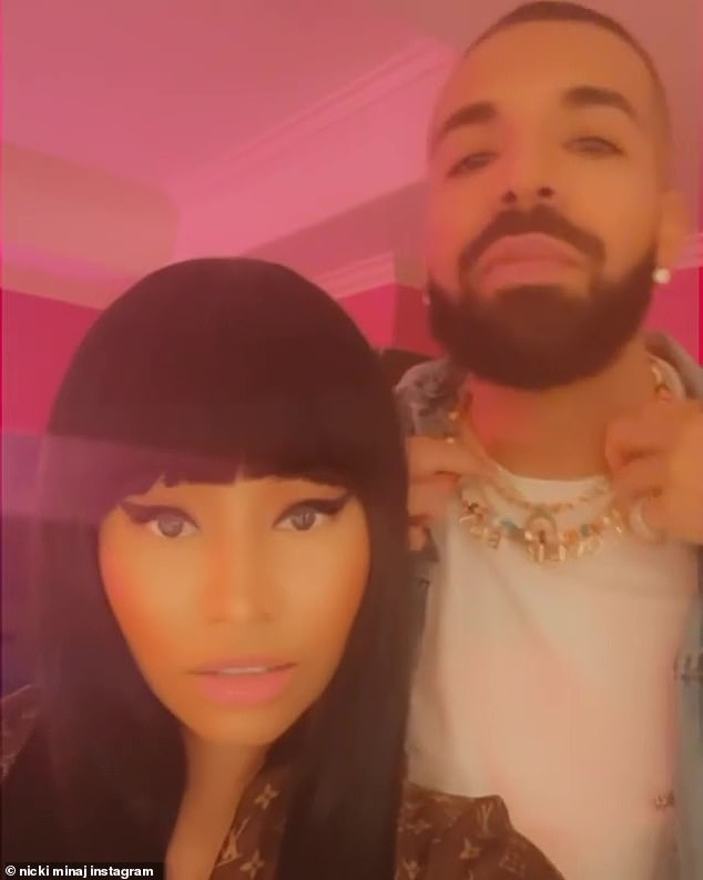 Putting on a show: Nicki and Drake could be seen flexing for the camera as they dance along to the track in a video shared to Instagram