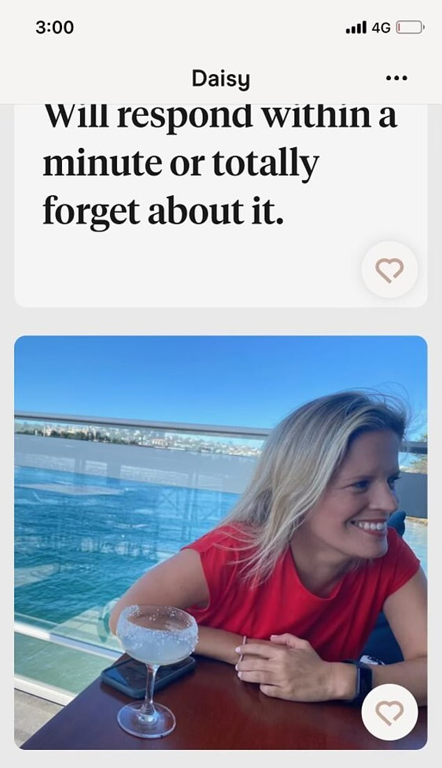 Daisy Turnbull, who recently split from her husband of 10 years, appears to be using the upmarket dating app Hinge, and kicked it off with an intimidating prompt for potential suitors
