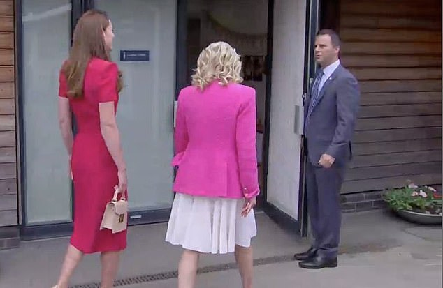 The two chatted together as they walked into the school, with Dr Jill matching Kate in a white dress and bright pink blazer from Lagence Fashion