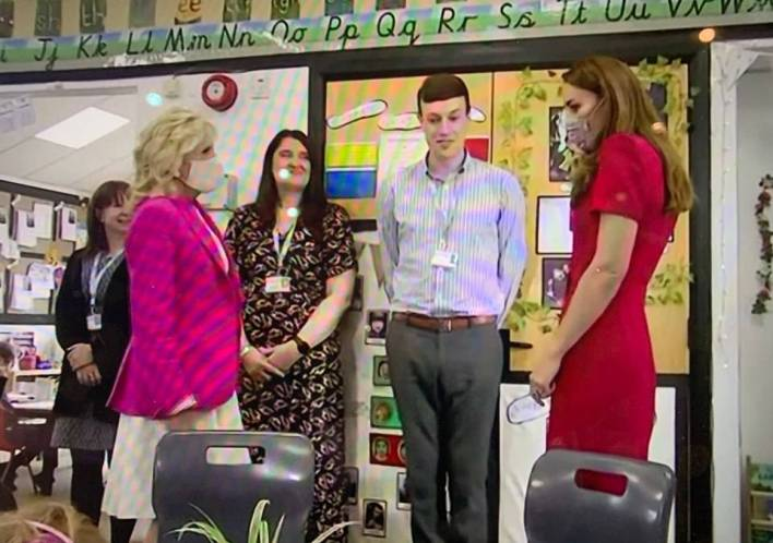They were meeting staff and children at the Connor Downs Academy near Camborne this afternoon and a round table discussion with UK education experts convened by Kate