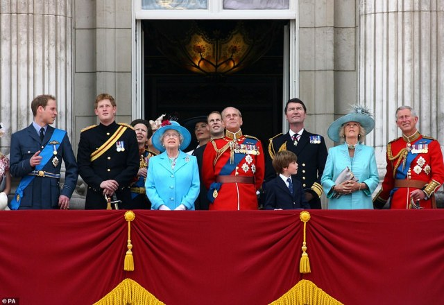 2009 — THE BLUES:Members of the Royal Familywatch a flyover from the balcony of Buckingham Palace in London at the conclusion of the annual Trooping the Colour. From left to right: Prince William, Prince Harry, The Princess Royal, Queen Elizabeth II, Princess Michael of Kent (back), the Earl of Wessex (back), the Duke of Edinburgh, Vice Admiral Timothy Lawrence, the Duchess of Cornwall and the Prince of Wales.