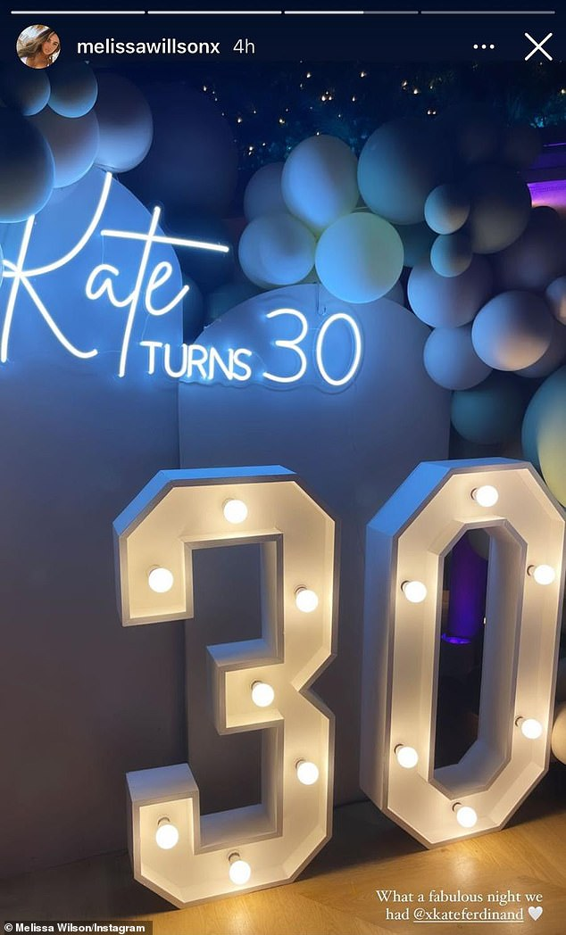 'Kate turns 30': The married couple apparently got a night of parental leave on Thursday as they celebrated Kate's 30th birthday with a private party