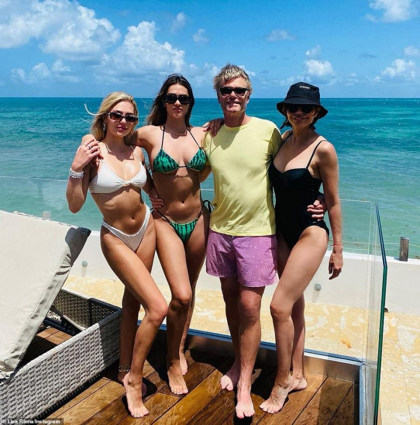 Famous family:Amelia and Delilah are the daughters of Lisa Rinna and Harry Hamlin, who became husband and wife back in 1997; seen in the tropics in May