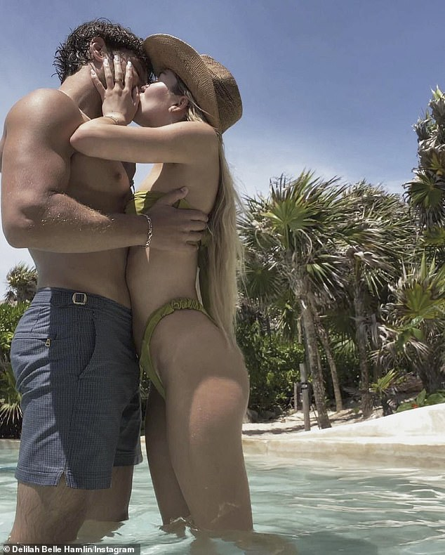 Her love:The fashion model was also seen kissing her longtime boyfriend Eyal Booker, 24, as she celebrated her 23rd birthday