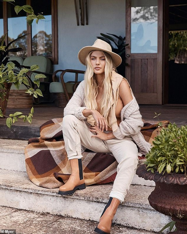 Wow!  Elyse Knowles (pictured) welcomed her first child, a baby boy named Sunny, with fiance Josh Barker earlier this year  The model, 28, shared images from her glamorous photoshoot for the Myer department store in an Instagram post on Friday.