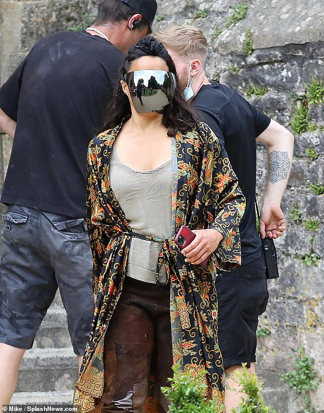 Star:Michelle Rodriguez donned a reflective visor as she got into character on the set of Dungeons & Dragons as filming began for the live action movie in Somerset on Friday