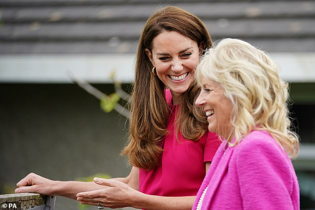 The Duchess of Cambridge and US First Lady Jill Biden couldn't stop smiling during a visit to Connor Downs Academy in Hayle, West Cornwall, during the G7 summit in Cornwall