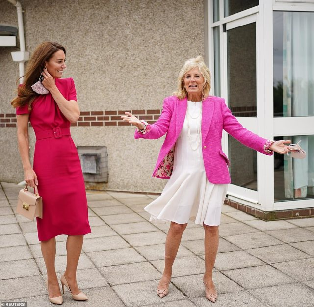 Earlier today, the Duchess of Cambridge and Jill Biden opted for clashing pink tones as they visited a school in Cornwall