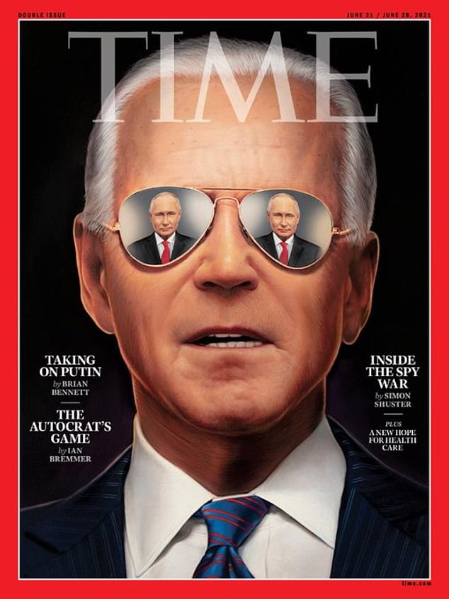 Time magazine has come under fire for its fawning cover of Joe Biden looking younger with Vladimir Putin reflected in his aviator sunglasses