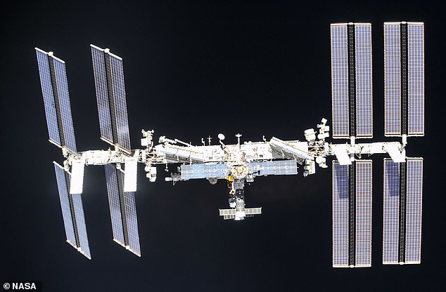 In orbit:The International Space Station is a $100 billion (£80 billion) science and engineering laboratory that orbits 250 miles (400 km) above Earth
