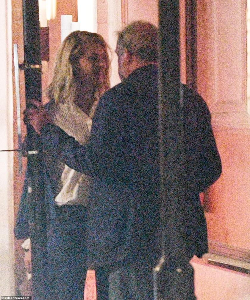 Together: The blonde beauty was all smiles as she got close to her beau