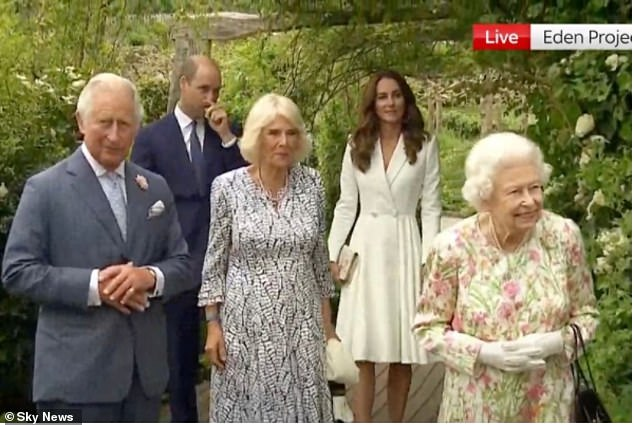The Queen arrived at the Eden Project in Cornwall for a reception with G7 leaders - as Britain pulls out all the stops to dazzle the world's most powerful