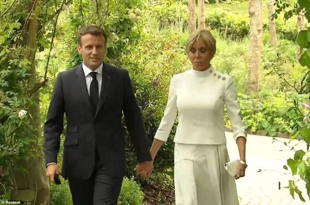 French President Emmanuel Macron with wife Brigitte