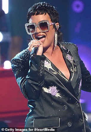 A new look: Here Lovato is pictured in May 2021