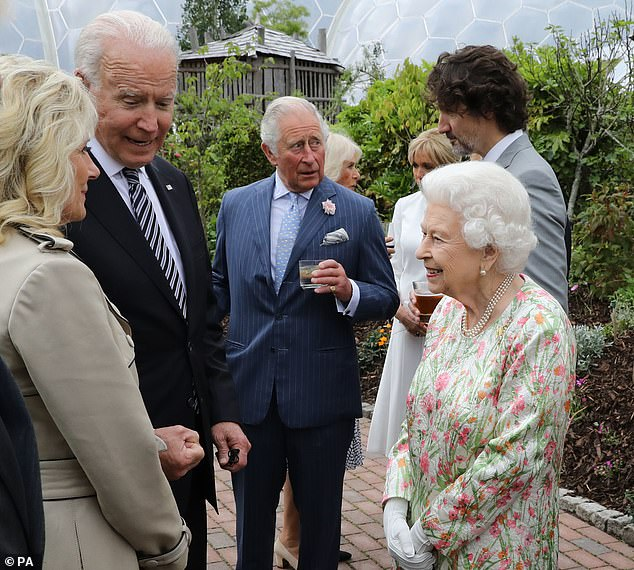 Joe Biden met the Queen for the first time at a no-holds-barred reception with G7 leaders at the Eden Project tonight