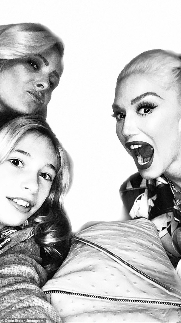 Celebrating: The Hollaback Girl singer concluded her story with a black and white photo of herself with Stella and Jen