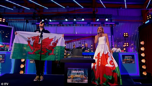 Stunning: Supporting her home nation of Wales during the tournament, the evening also saw a performance from classical superstar Katherine Jenkins