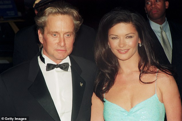 Family: Meanwhile Catherine tied the knot with Michael Douglas, 76, in 2000 (pictured in 1990) and they share daughter Carys Zeta Douglas, 18, and son Dylan Michael Douglas, 20
