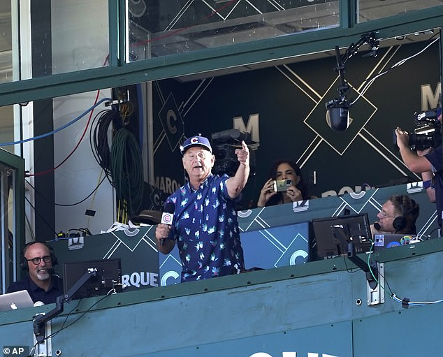 Post COVID-19 era: Lifelong Cubs fans, Bill Murray, marked the return of full-capacity seating at Wrigley Field by singing Take Me Out To The Ball Game during the Cubs afternoon game against the St. Louis Cardinals on Friday, June 11