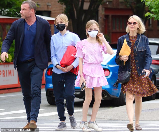 Co-parenting: Amicable exes Naomi Watts and Liev Schreiber were seen out with their children in New York City this week