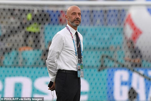 Italy coach Gianluca Vialli was in good spirits at the opening match of Euro 2020 on Friday