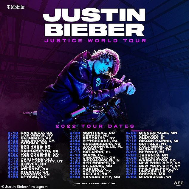 Tour dates: Last month, the husband of model Hailey Bieber, posted an image of himself leaning on the handles of a motorcycle while wearing a jacket and showing off messy hair. The tour will kick off in San Diego on February 18 and conclude in Milwaukee on June 24