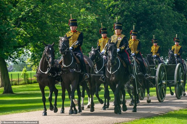 The Kings's Troop Royal Horse Artillery ride along the Long Walk today for the Trooping the Colour at Windsor Castle to celebrate Her Majesty the Queen's official birthday